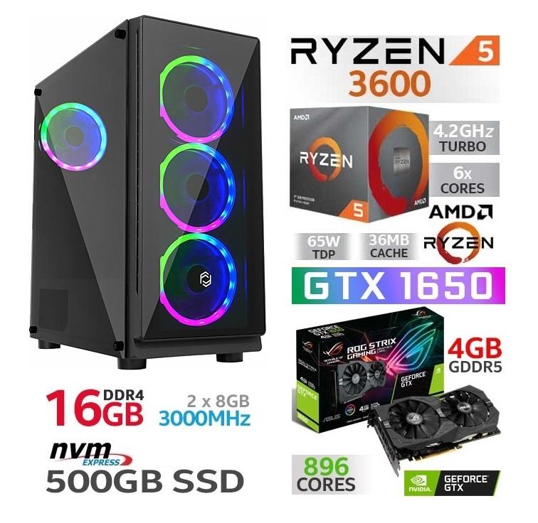 AMD RYZEN 5 3600 16GB DDR4 RX 5500XT 500GB M.2 NVME SSD GAMING KASA