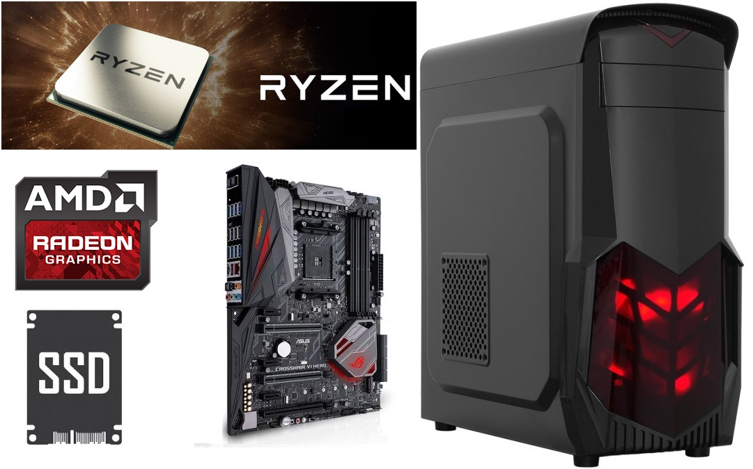 AMD RYZEN 7 1700 AM4 3.7GHZ /16GB DDR4 / 240GB SSD/GTX1050 4GB VGA PRO GAMER KASA