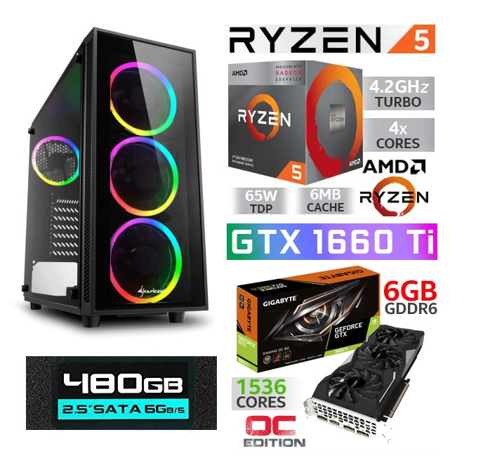 AMD RYZEN 5 3400 16GB DDR4 DUAL GTX1660 6GB GAMING 480GB SSD GAMING KASA